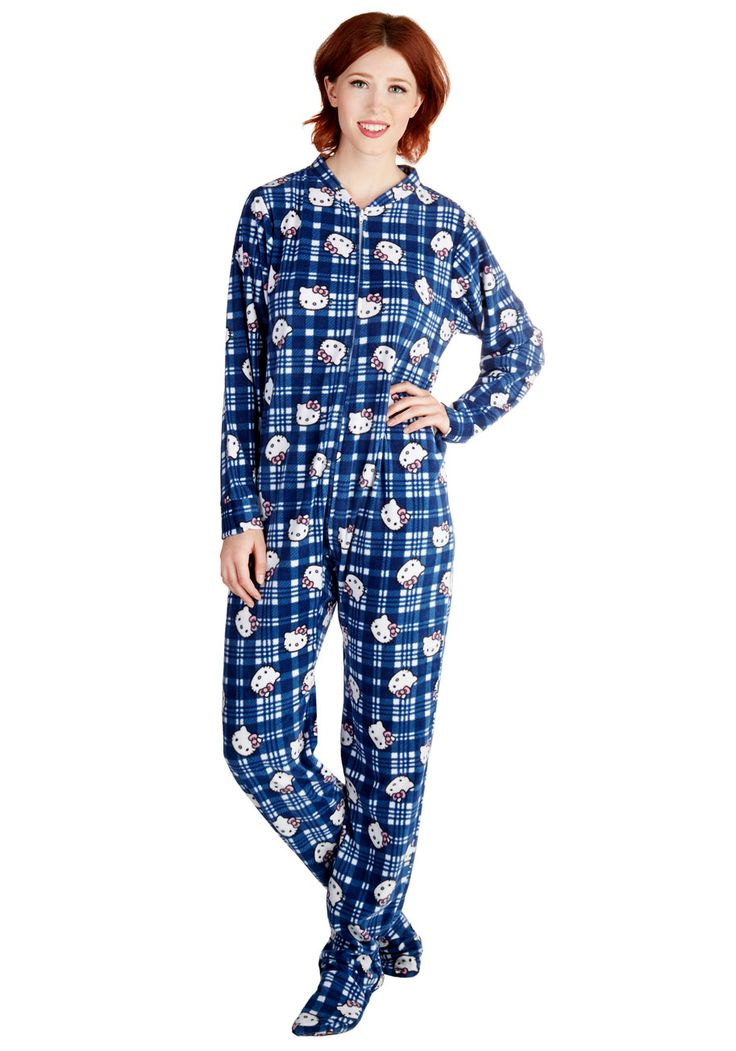 Kitty Committee One-Piece Pajamas. A cuddle meeting with your furry friends is all the more cozy in this fleece pair of footie pajamas. #blue #modcloth