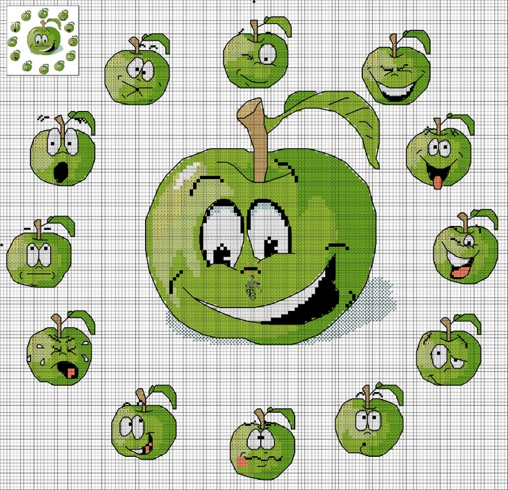 Вышивка.Яблочные часики.