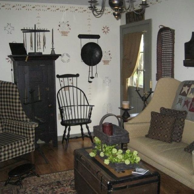 Colonial Primitive Decorating Ideas: The Stenciling On The Wall Of This Primitive Room Is