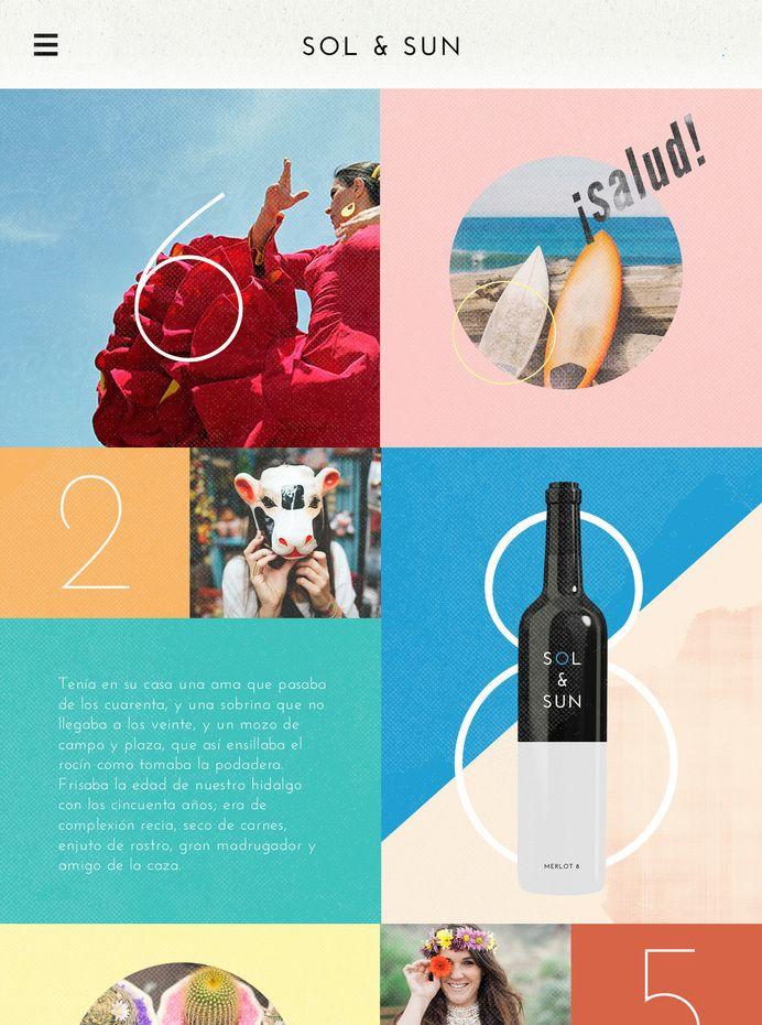 Sol & Sun Mobile Website Design with Grid Layout | Colorful UI Design