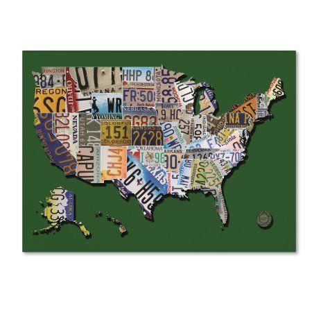Trademark Fine Art 'usa License Plate Map on Billiard Green' Canvas Art by Masters Fine Art, Green