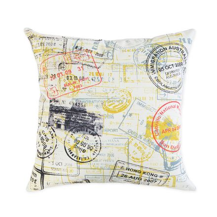 RUMPUS: Passport cushion $30. 1 or 2 of these mixed with some pale blue, beige maybe yellow (colours all picked out of this cushion)