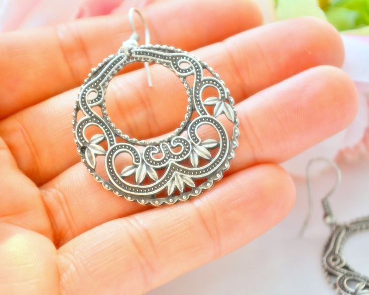 Gypsy Earrine, Silver boho filigree Earring, Istanbul earrings, Persian Dangle Earring, Party earring, Wedding Earring, Gift Mother earring