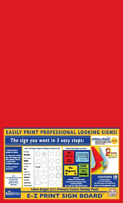 Sign Board, 2 Cool Colors, 8.5x14, Asorted Primary Colors, Variety Pack, 10/PK