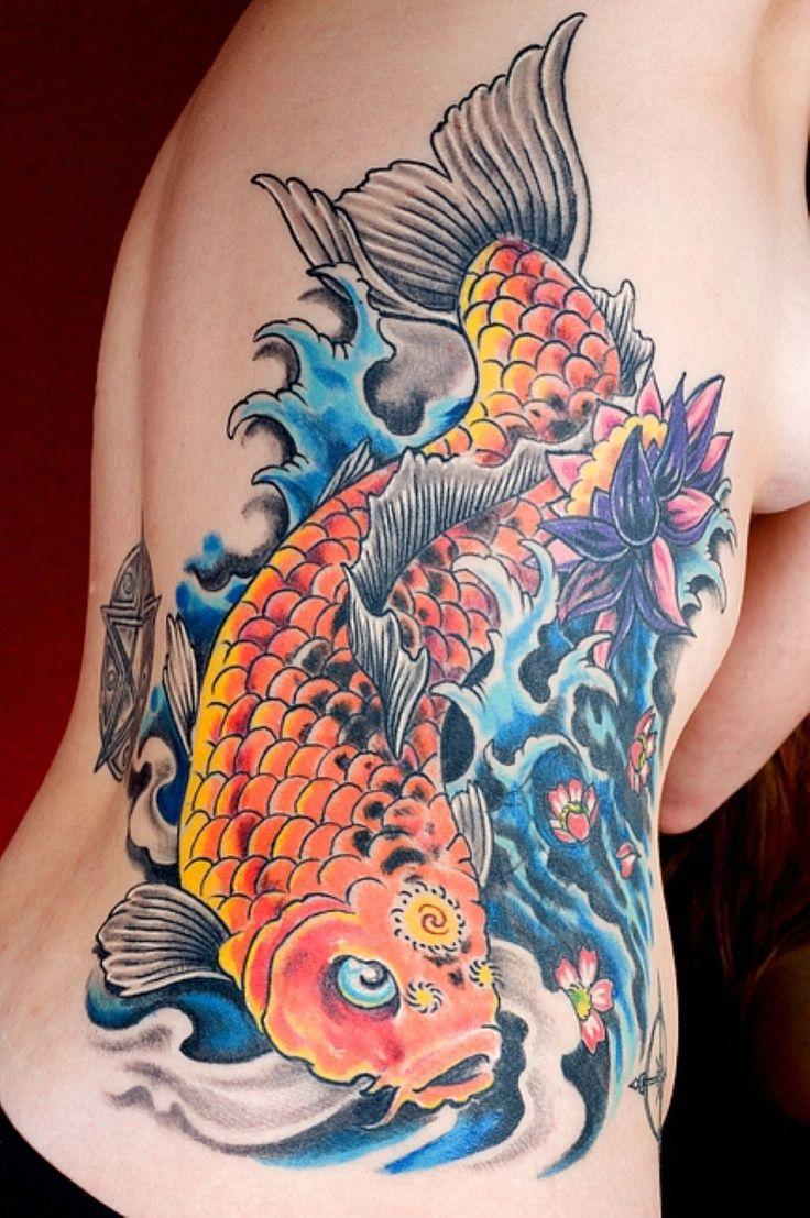 Impressive koi fish tattoo for women on side back # ...