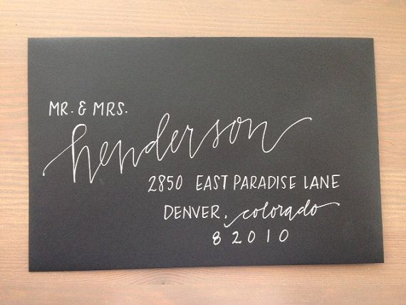 Custom Wedding Calligraphy Envelope by PrettyPaperieShop on Etsy