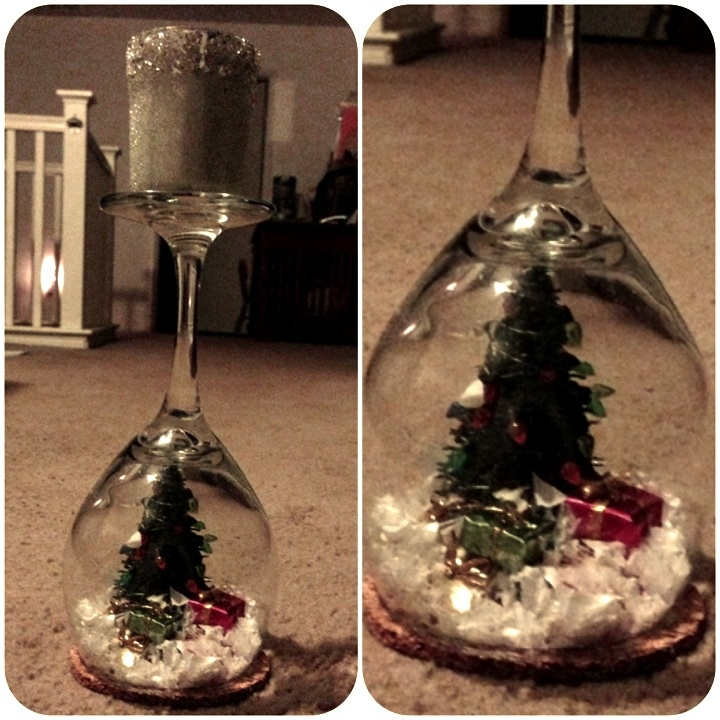 Wine glass snow globe candle holder diy 39 s i actually for How to make christmas candle holders