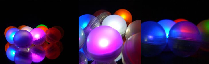 """LED fairy berries are sure to be the center of attention at your next party. Totally submersible. They fade in and out very slowly, creating a moving firefly effect which can be absolutely breathtaking.    Place these small 3/4"""" diameter LED balls everywhere around your party venue. On the lawn, in the garden, hanging from trees, shrubs and ceilings. Lasts 20+ hours. Sold in sets of 10."""