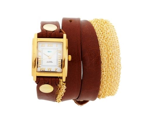 Leather and Gold Chain Wrap Watch from Kristin Cavallari. I am obsessed with this watch.