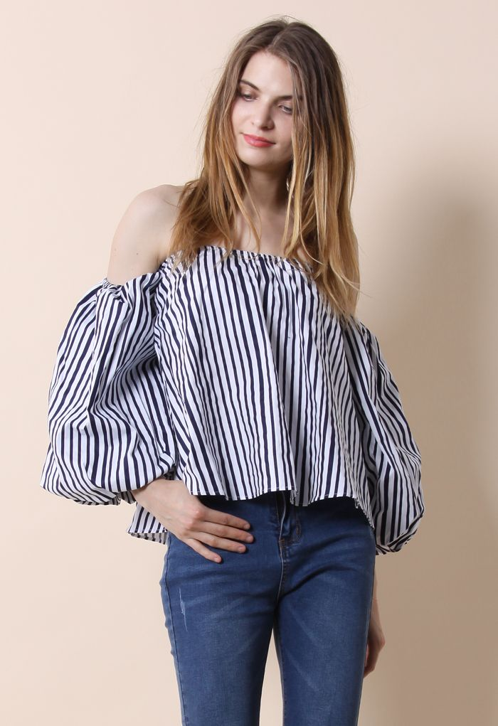 Blithe Bubble Off-shoulder Top in Stripes - New Arrivals - Retro, Indie and Unique Fashion