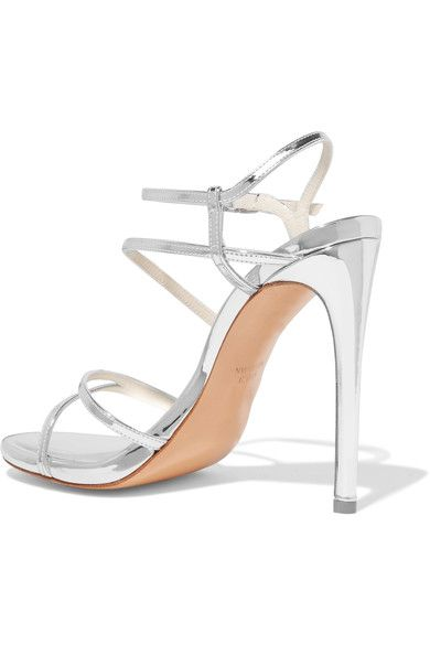 Stuart Weitzman - Follie Metallic Patent-leather Sandals - Silver