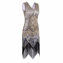 Great Gatsby Dress Women Sequined Dress V Neck Beaded Sequined Art Deco Flapper Dress 1920s Vintage Party Dresses Sexy Club(China (Mainland))
