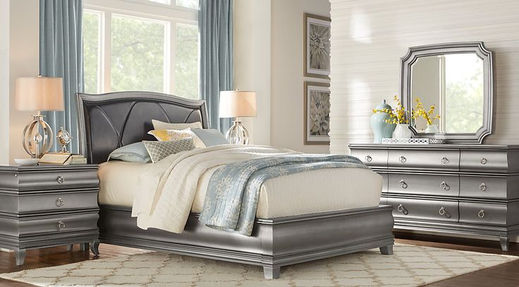 Alexi Silver 5 Pc Queen Panel Bedroom with Chocolate Inset