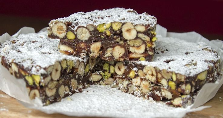 Chocolate panforte by greek chef Akis. This is a delicious, traditional Italian dessert containing fruits and nuts!