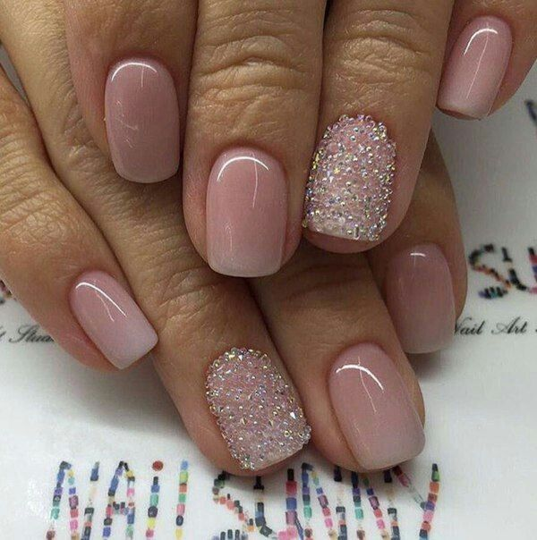 light pink white/beige ombré nails with rhinestones in gold, silver & transparent #GorgeousNailIdeas