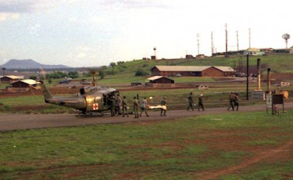 Helicopter pad 71st Evac Hospital  Unloading casualties from Dust