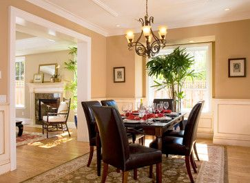 Dining room with chair rail paint color ideas for Traditional dining room paint ideas
