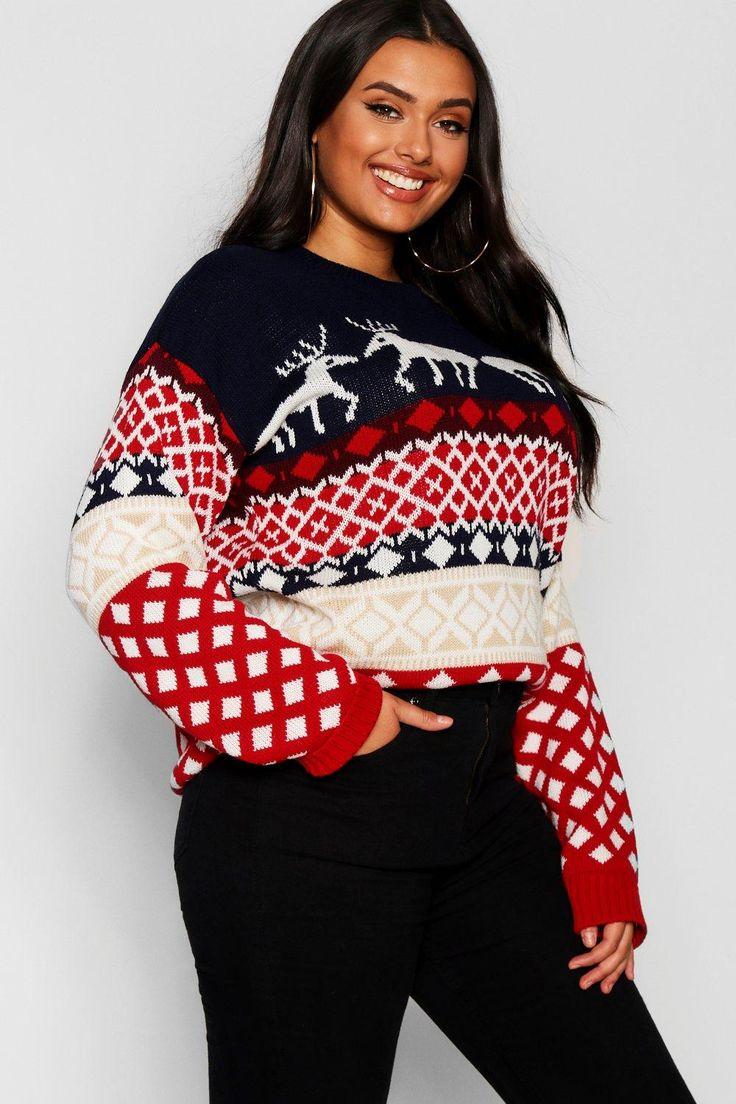 Plus Reindeer Fairisle Christmas Sweater Boohoo Online