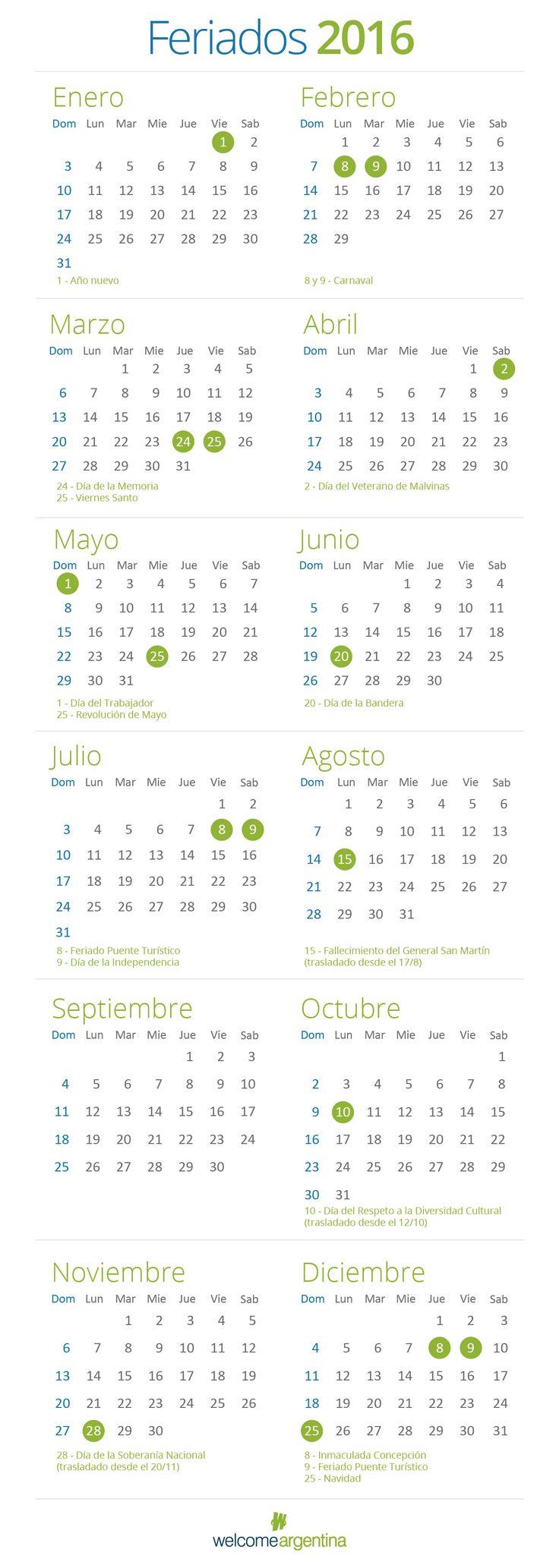 Feriados 2016 - Calendario de feriados en Argentina