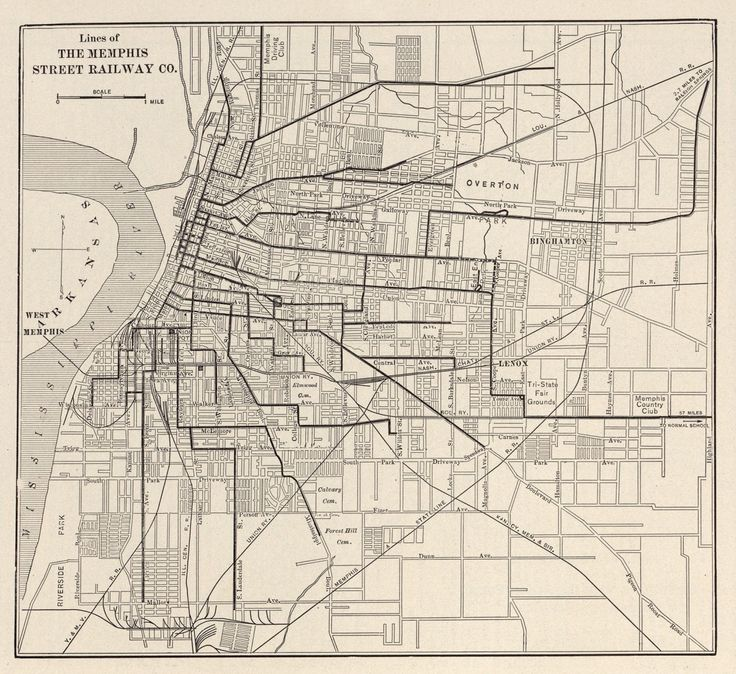 Old Streetcar Map of Memphis, TN