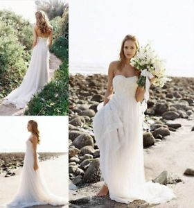 New Chiffon Beach Wedding Dresses A-Line Sweetheart Long Bridal Gowns Plus Size
