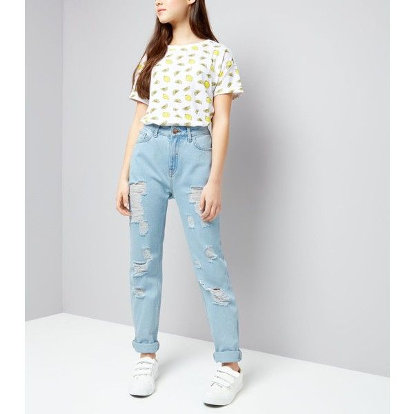 New Look Teens Pale Blue Ripped Mom Jeans ($30) ❤ liked on Polyvore featuring jeans, pale blue, ripped jeans, destroyed jeans, destroyed denim jeans, distressing jeans and ripped denim jeans