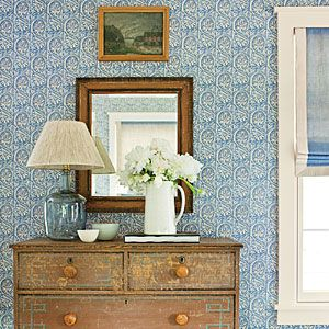 Nashville Idea House Guest Cottage/Bunkhouse--- great wallpaper and a pretty chest,  featuring pale blue, geometric-painted designs on the front...