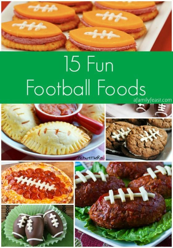 15 Fun Football Foods - This collection is a terrific mix of creatively-served savory and sweet recipes (all the shape of a football).