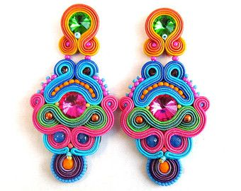 Colorful Boho Earrings with Tassels and PomPoms, Long Handmade Soutache Earrings These colorful boho earrings Ive made using the soutache technique and glass beads, braiding, plated findings, tassels, pompoms, cup chain. These earrings would pair extremely well with any outfit not only in boho style ! The earrings measure 10 cm in length ( or 3,9inches) and are extremely lightweight ! The backside of embroidery is finished with genuine leather and the type of closure can be either clip o...