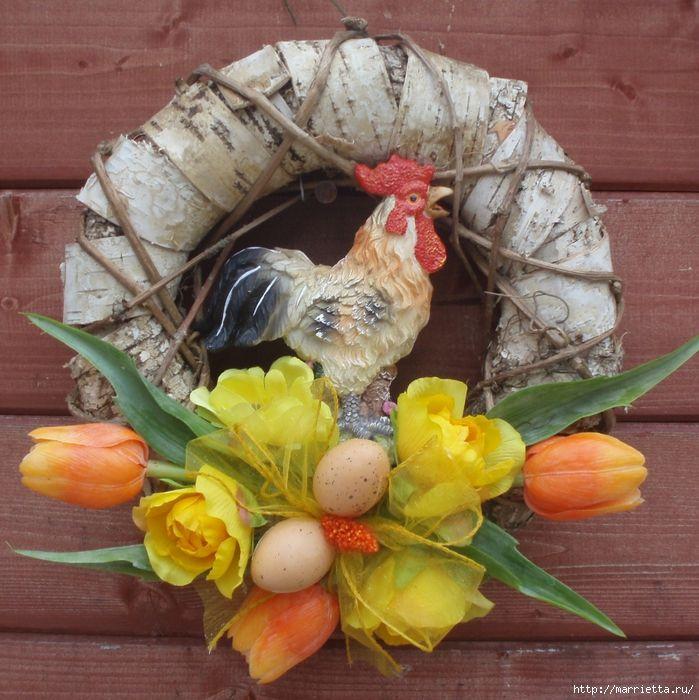 Grinaldas de Páscoa.  Base para a coroa de bandejas de ovos (3) (699x700, 412KB)