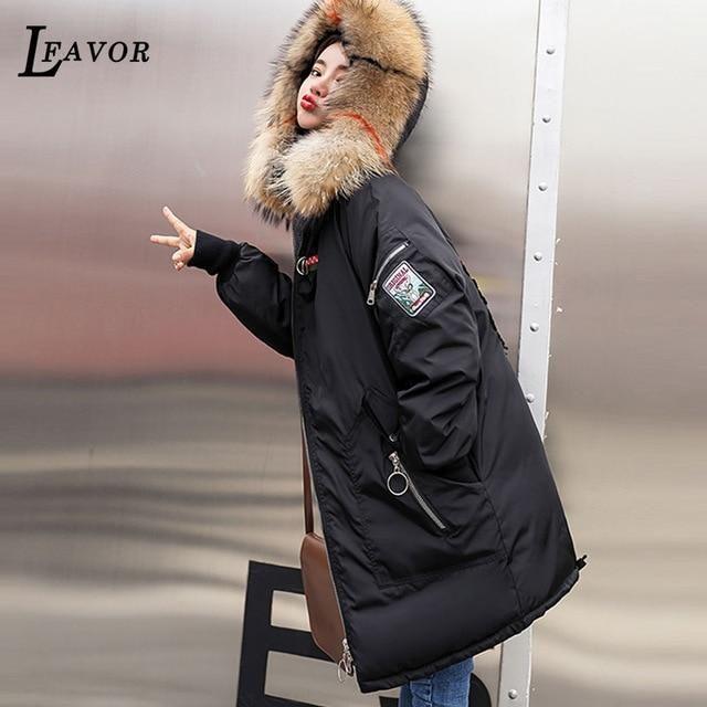 Plus size Winter Jackets Women Embroidery Coats Big fur collar Hooded Down Jacket Warm Long Parka Women Thicken Cotton Jackets 8