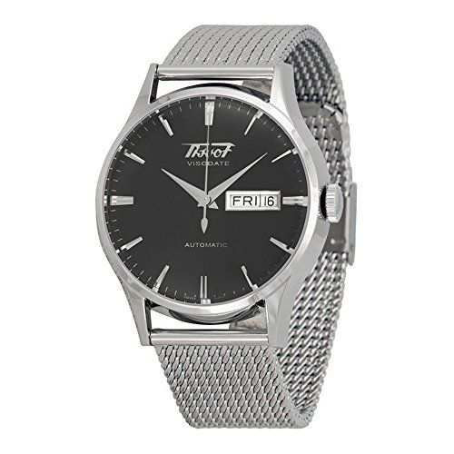 Tissot Visodate Black Dial Stainless Steel Mesh Watch T0194301105100  Tissot Visodate Black Dial Stainless Steel Mesh Watch T0194301105100 Stainless steel case with a stainless steel mesh bracelet. Fixed stainless steel bezel. Black dial with silver-tone hands and index hour markers. Minute markers around the outer rim. Dial Type: Analog. Luminescent hands and markers. Day of the week and date display at the 3 o'clock position. Automatic movement with a 42 hour power reserveScratch r..