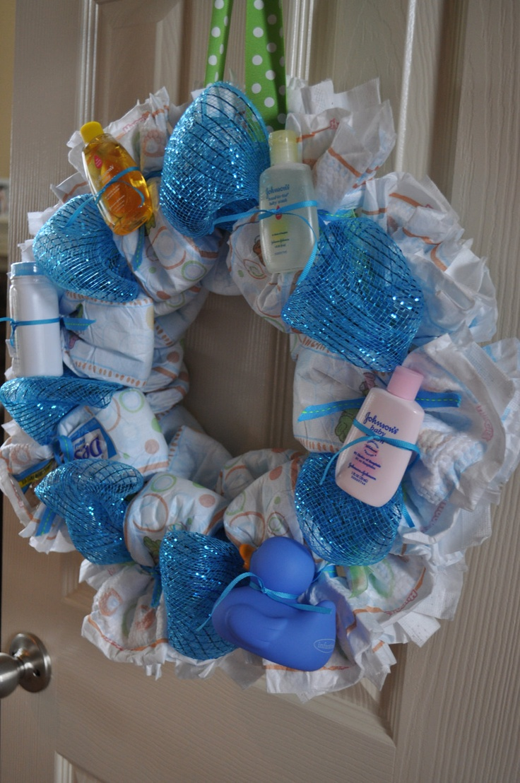 Diaper wreath baby shower decoration and gift by for Baby diaper decoration ideas