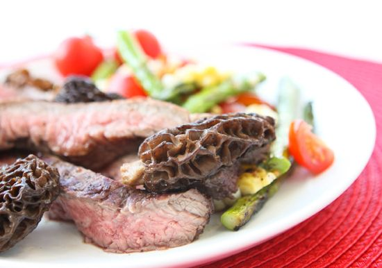 Pip & Ebby - Pip & Ebby - Grilled flank steak and moral mushrooms wit...