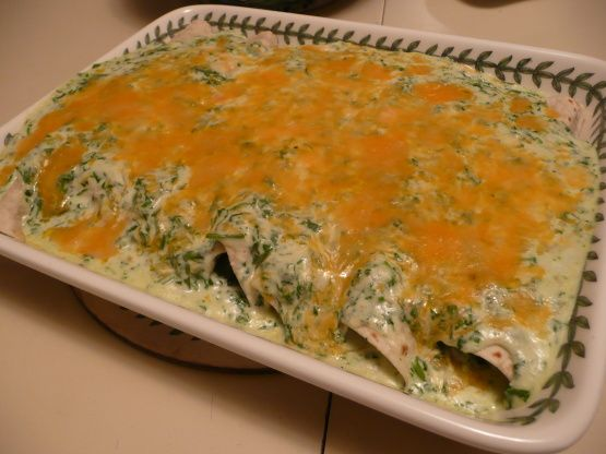 Jalapenos Spinach Enchiladas Recipe **Jayci-tested: add wayyy more cheese inside. Maybe cilantro inside too? Easy on the garlic & white pepper! Cilantro sauce is soooo good. - make extra!!