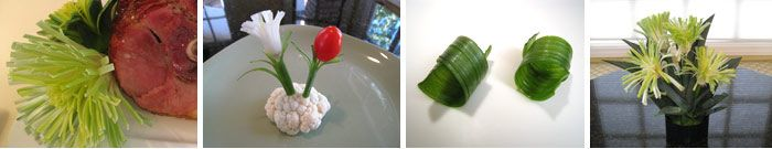 Learn to create Leeks and Onion Flowers, stems and curls: http://www.vegetablefruitcarving.com/vegetable-and-fruit-carving-course-101/