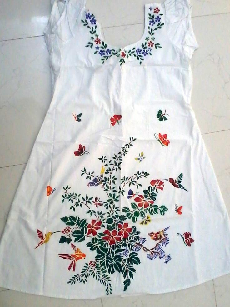 my stencil fabric painting on kurti...   gajjar shilpaa ...