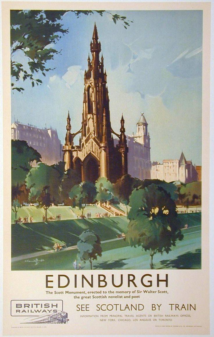 Vintage Rail travel railway poster A4 RE PRINT Edinburgh | eBay