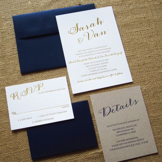 Modern Design Gold Foiled Wedding Invitations. This eco-friendly invite features a clean and simple design. This design is ready to be customize to fit your wedding style and theme colors!