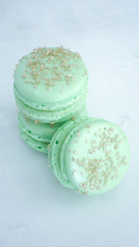 French Macaron Cookies 12 Gold Glitter Sugar Mint Green Macaroons Gift Splendid Sweet  Ask a Question $25.00