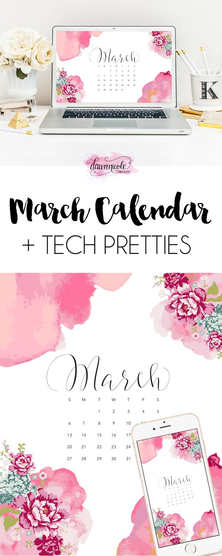 March 2016 Calendar + Tech Pretties | dawnnicoledesigns.com