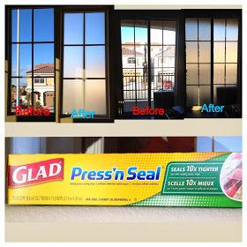 Make a cheap and easy, temporary, translucent privacy window covering from press and seal plastic wrap.
