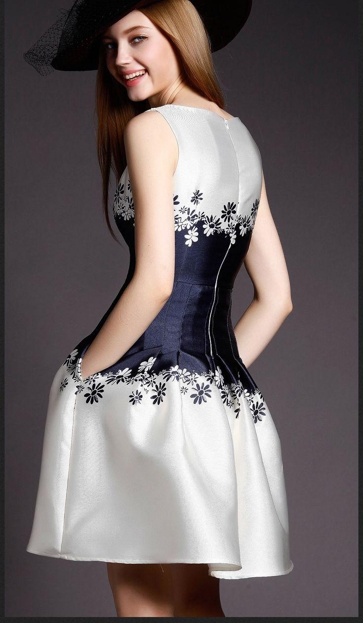 2015 Summer Women Fashion Sleeveless Print dress