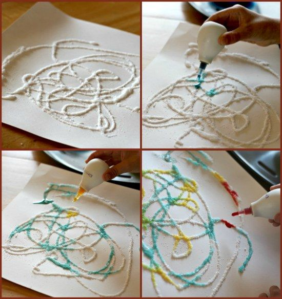WIN Absorbing Artwork Fun Rainy Day Craft For The Kids All You Need Is Glue Salt Water And Food Coloring Just Dont Be Shy With