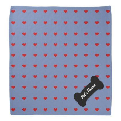 Hearts Abound Bandana with Your Pet's Name - valentines day gifts love couple diy personalize for her for him girlfriend boyfriend