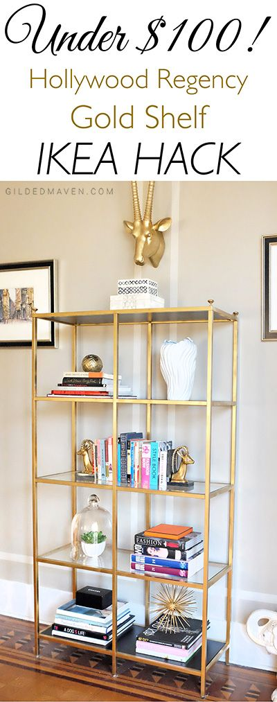 SO pretty! Pin now and do this spring... BEST Ikea Hack Ever!  It looks so expensive - and under $100?!   #ikeahack #goldshelf #diy