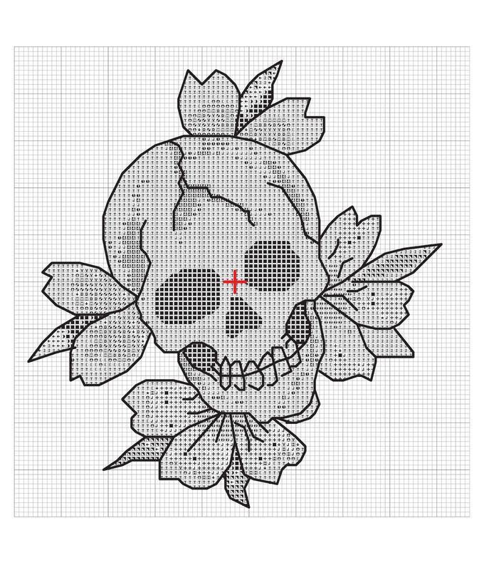 Blooming Skull · Extract from Love Kills Slowly Cross-Stitch by Ed Hardy · How To Make A Patterns - Picmia