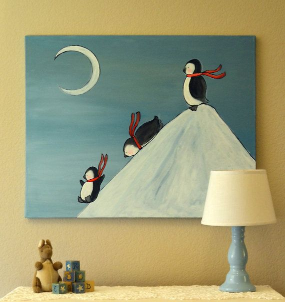 Penguin Kids Art Large Canvas Painting Nursery Decor by andralynn
