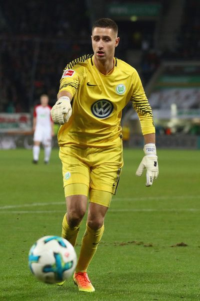 Koen Casteels, keeper of Wolfsburg controlls the ball during the Bundesliga match between FC Augsburg and VfL Wolfsburg at WWK-Arena on November 25, 2017 in Augsburg, Germany.