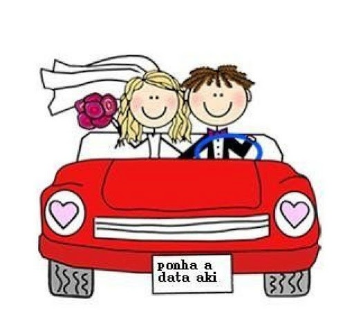 Dibujos. Clipart. Digi stamp - Wedding - Just Married Car